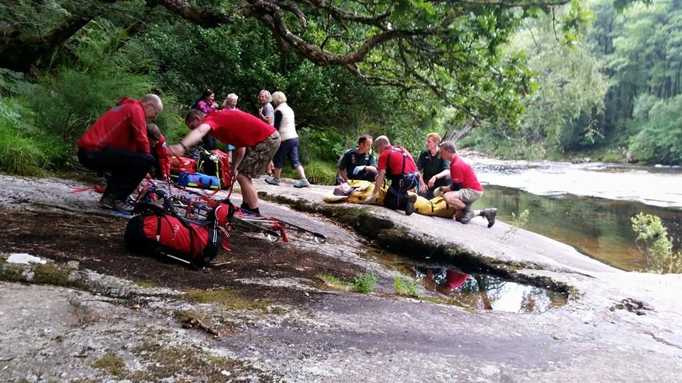 Dartmoor Search and Rescue Ashburton volunteers worked alongside ambulance service personnel to effect a rescue from the Upper Dart Valley