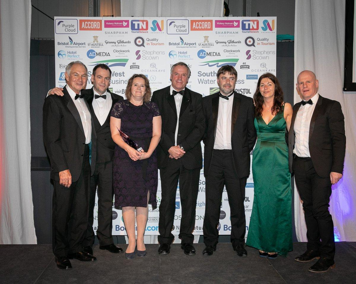 Team members collect a special outstanding contribution award at the SW Tourism Awards 2019.