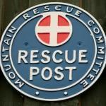 The classic Mountain Rescue 'Rescue Post' plate on display at the Dartmoor Search & Rescue Team - Ashburton's rescue base near Buckfastleigh in Devon