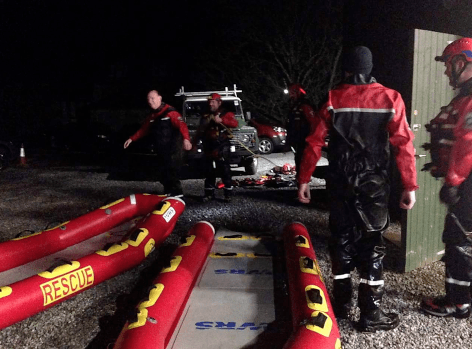 Dartmoor search and rescue water team specialists after being deployed on the River Dart near Buckfastleigh