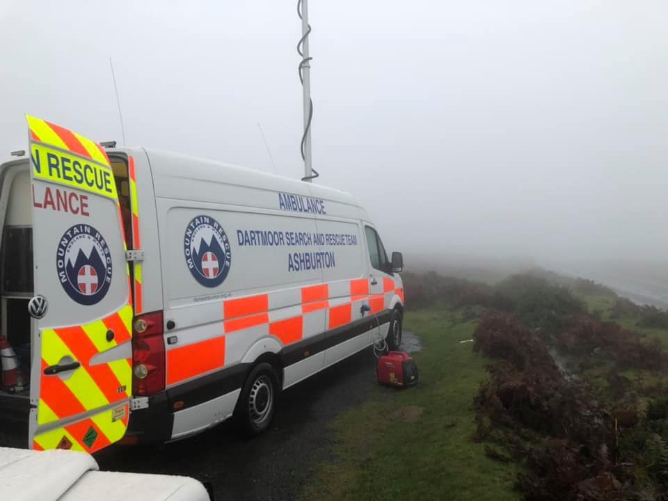 Dartmoor Search and Rescue incident control vehicle coordinating rescue for missing walker