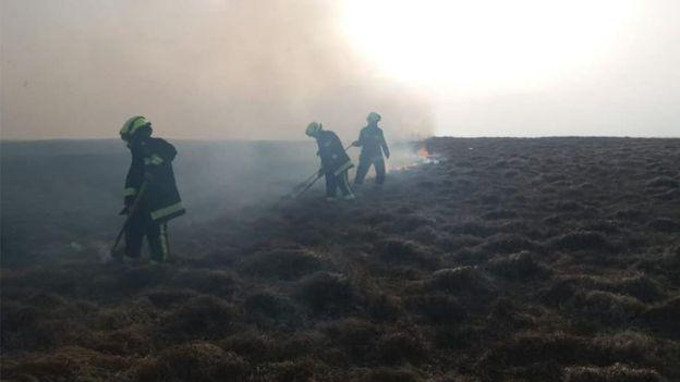Crews on foot are using beaters and a range of specialist vehicles to fight fires in Dartmoor National Park