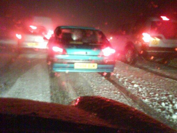 Stuck in traffic on the A38 at Haldon Hill in the snow of 2009