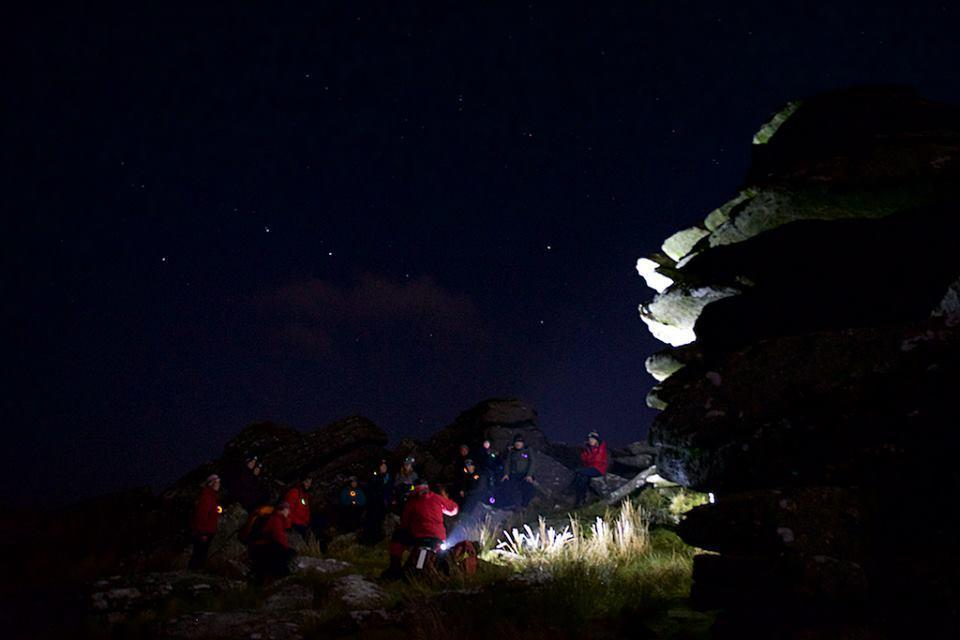 Night time stories at Littaford Tors during Dartmoor Rescue Ashburton Dartmoor in the Dark