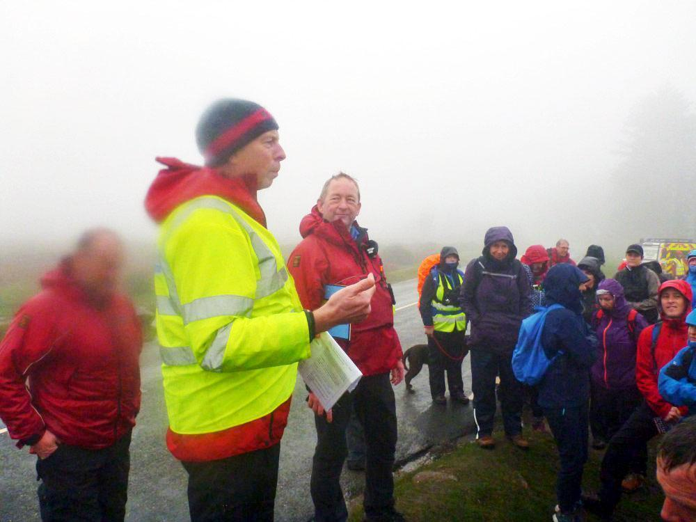 Craig and Alan brief 200 Templer Way Challenge participants at the murky start to the 2018 event
