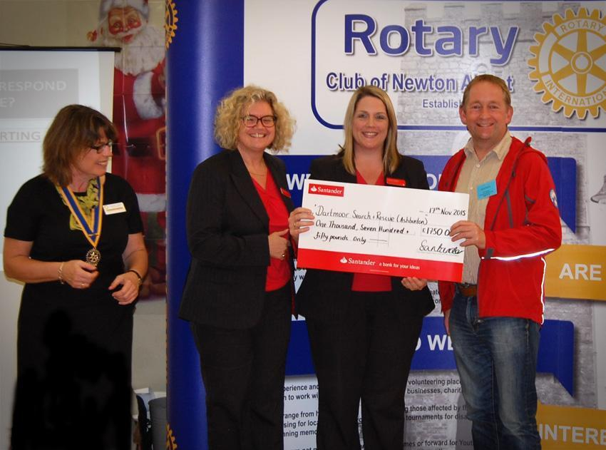 Newton Abbot Rotarians present a cheque to local Devon charity, Dartmoor Search and Rescue Ashburton