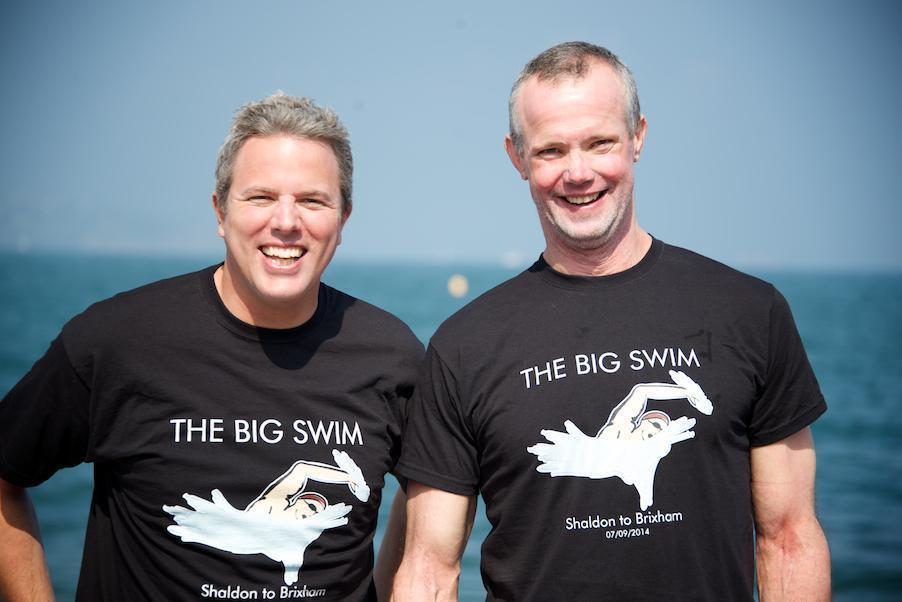Team members Andy and Jim swam 10 miles across Torbay to raise money for Devon rescuers