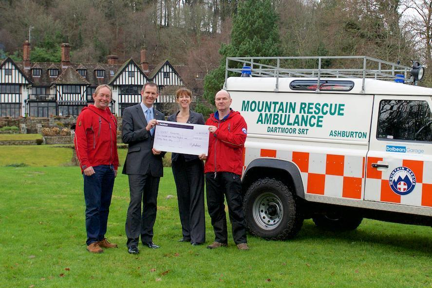 gidleigh park diners donate a cheque to Devon rescue charity