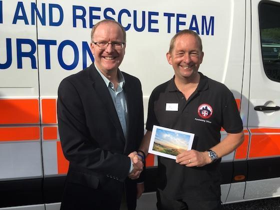 s devon methodist cheque presentation to Dartmoor Search and Rescue Ashburton