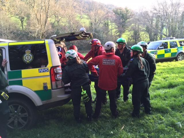 Evacuating a climber to the waiting ambulance who had fallen 15m whilst leading a climb at Chudleigh Rocks