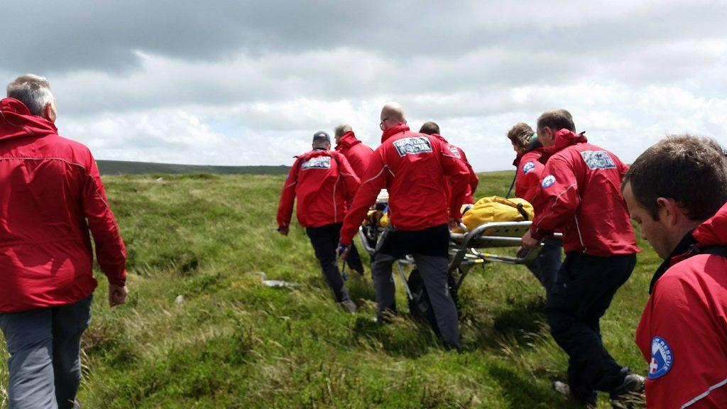 Dartmoor Search and Rescue Ashburton called to assist the ambulance service with the evacuation of a lady who had taken a fall to the west of Top Tor, sustaining a lower leg injury in the process.