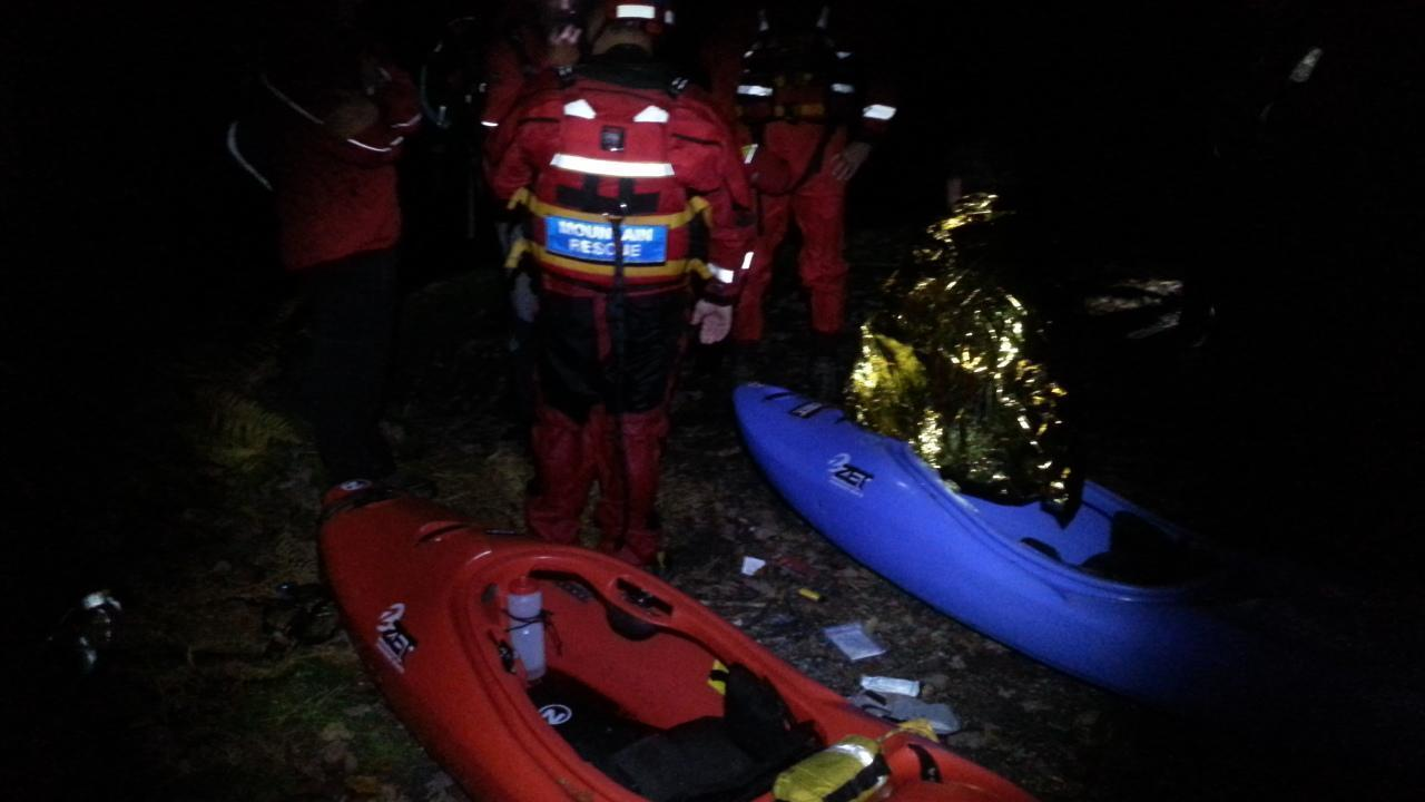 Callout to search and rescue missing kayakers in the upper River Dart gorge