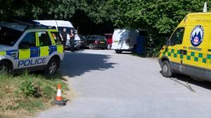 Police and our control vehicle at Mincinglake Park, Exeter during a callout looking for a missing female