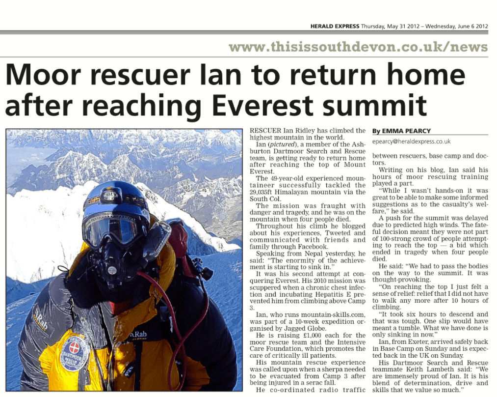 Dartmoor Search and Rescue Ashburton team member Ian Ridley summits Mount Everest