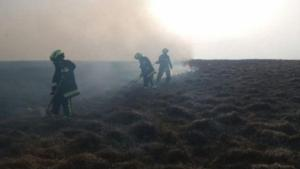 Devon and Somerset Fire and Rescue firefighters fighting fires in Dartmoor National Park
