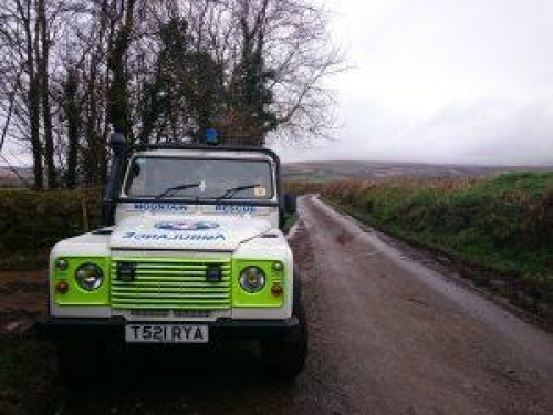 Dartmoor Search and Rescue Landrover on site at a search near Ivybridge, Devon