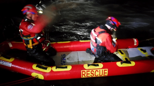 Dartmoor Rescue Ashburton swift water rescue specialists preparing for a water rescue exercise