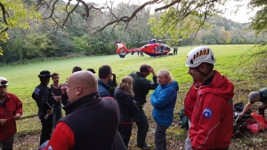 Devon Air Ambulance with Dartmoor Rescue volunteers and Police Officers at an incident at Chudleigh