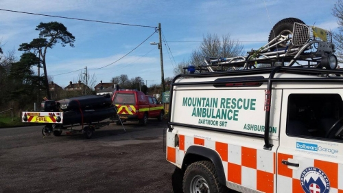 Dartmoor Rescue and Devon and SomerSet Fire and Rescue vehicles at Newton St Cyres search