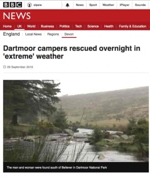 Dartmoor campers rescued in 'extreme' weather