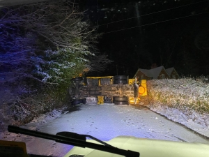 Snow plan standby and overturned gritter