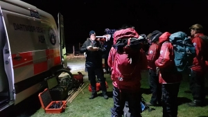 Dartmoor Rescue volunteers preparing to search at the Donkey Sanctuary